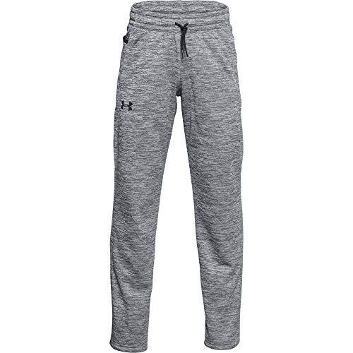 Under Armour Boys' Armour Fleece Pants , Halo Gray (014)/Black , Youth X-Large