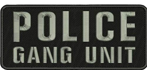 Patch Perfect for DIY Motif Clothing - Bags - Jeans - Hats - Shoes - Shirts - Socks Police Gang Unit Embroidery Patch 4x10 Hook on Back blk/Gray/////