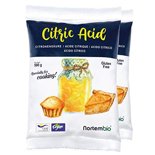 Nortembio Acide Citrique 1 Kg (2x500g). La Meilleure Qualité Alimentaire. Intrant Biologique. Poudre, 100% Pure. E-Book Inclus.