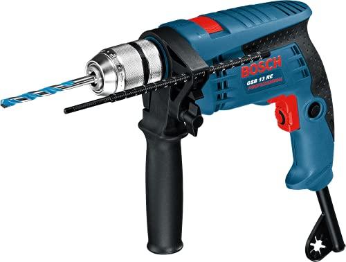 Bosch Professional 601217103 Schlagbohrmaschine 0 601 217 103 GSB 13 RE mit Koffer und Bohrer-Satz, 301 W, 230 V, Mehrfarbig, mit Bohrersatz