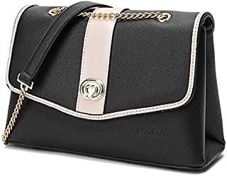 حقيبة كروس من الجلد للفتيات محاطة بإطار جلدي أسود من SAGA
