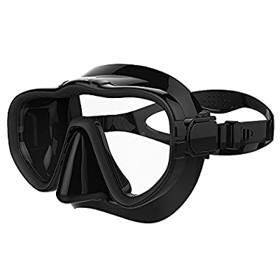 Kraken Aquatics Snorkel Dive Mask with Silicone Skirt and Strap for Scuba Diving, Snorkeling and Freediving | Black