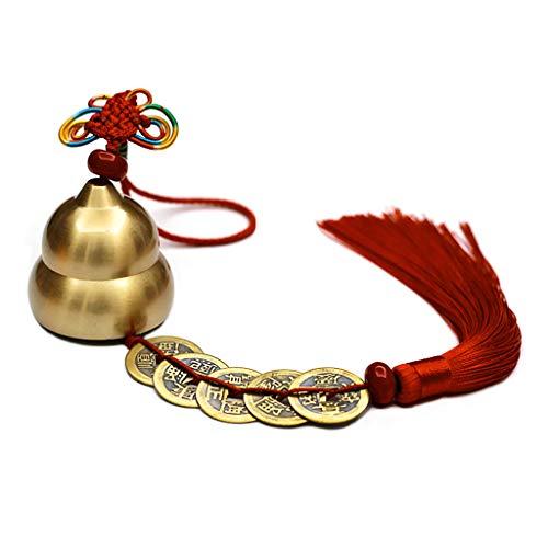 qiuxiaoaa Chinesische Feng Shui Glocke für Reichtum und Sicherheit, Münzen für den Erfolg, Abwehr böser Windspiele Bronze