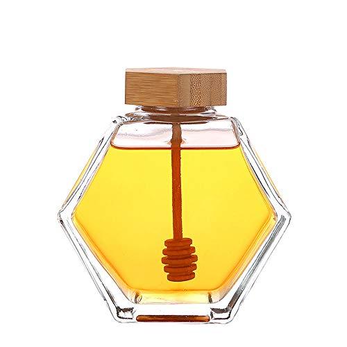 Honey Pot Glass Honey Jar ,Honey dispenser, syrup dispenser, honey jar with wooden dipper and cork lid cover, suitable for home kitchen, transparent (13 OZ)