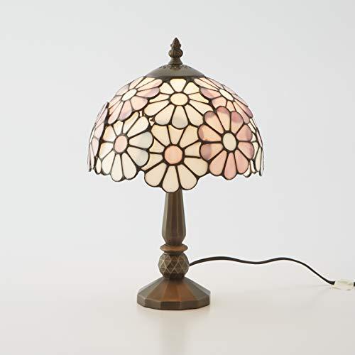 リエット ステンドグラスランプ テーブルランプ アンティーク レイラ 花 フラワー 全3色 ステンドランプ ステンドガラス 卓上照明 間接照明_ピンク
