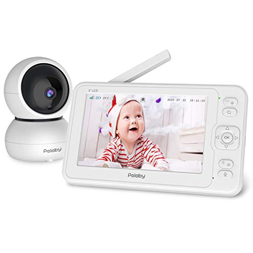 """Baby Monitor, Pelaby 1080P 5"""" HD Display Video Baby Monitor with Camera and Audio, Night Vision, Remote Pan Tilt, 1000ft Range, Two-Way Audio, Lullabies, Wireless Baby Monitor & High Capacity Battery"""
