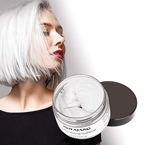Hair Color Wax 4.23 oz Temporary White Hair Dye Wax Hairstyle Pomade Natural Matte Styling Cream Unisex for Party,Cosplay(White)