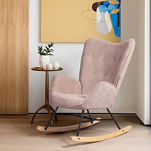 FURNISH 1 Scandinavian Rocking Chair Lazy Sofa Upholstered in Fabric, Metal Frame and Wood Base Pink 71 * 85 * 97CM