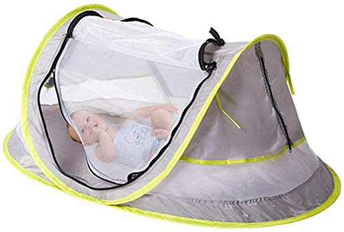 Baby Beach Tent, with A Brim Sun Protection Hat, Portable Baby Travel Tent UPF 50+ Infant Sun Shelters Pop Up Folding Outdoor Bed Baby Shade with Mosquito Net with 2 Pegs