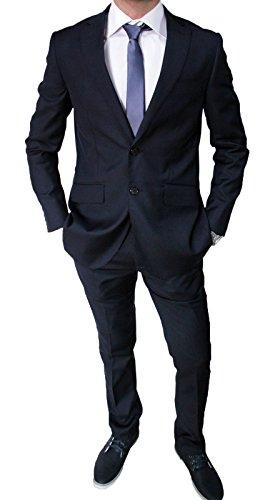 Mat Sartoriale Abito da Uomo Blu Scuro Completo Vestito Slim Fit Invernale (50)