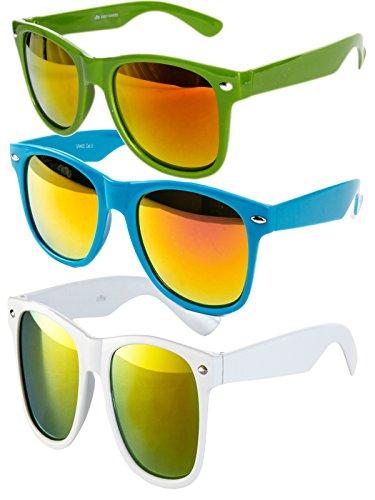 Ciffre 3 er Set EL-Sunprotect® Sonnenbrille Nerdbrille Brille Nerd Feuer Verspiegelt Grün Türkis Weiß