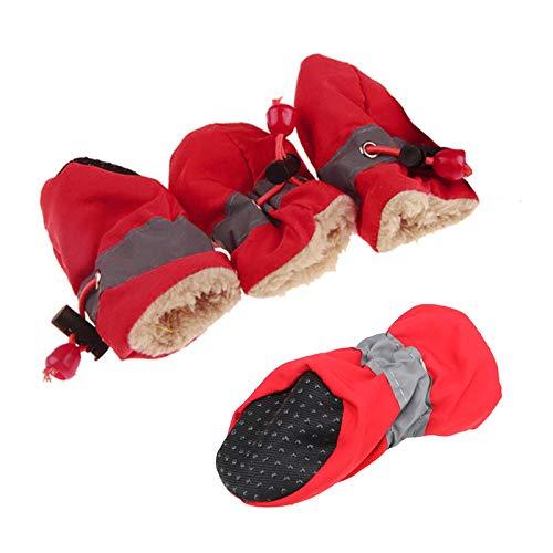 pawstrip Zapatos de perro suaves y cálidos, antideslizantes, con cordón ajustable, transpirables, protectores para patas de mascotas, para perros pequeños, medianos y grandes, color rojo