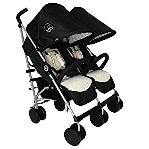 My Babiie Billie Faiers MB22 Black and Cream Double Stroller   8