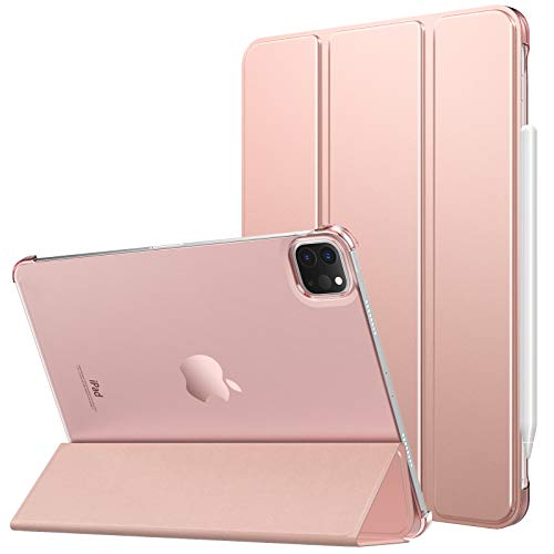 MoKo Case Fit New iPad Pro 11 Inch Case 2021, [Support Apple Pencil Charging] Slim Lightweight Semi-translucent Shell Protective Smart Cover Fit iPad Pro 11 3rd Generation, Auto Wake/Sleep, Rose Gold