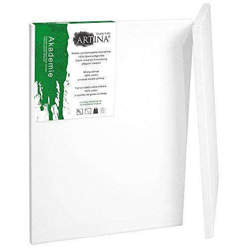 Artina 2er Set - 60x80 cm Leinwand aus 100% Baumwolle auf stabilem Keilrahmen in Akademie Qualität - 280 g/m²