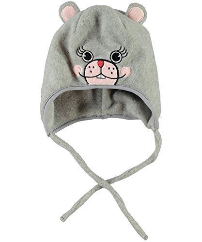 NAME IT, Mädchen Fleecemütze mit Bändchen und Tierpatch vorne (47/48 cm Kopfumfang, graumelliert - Maus)