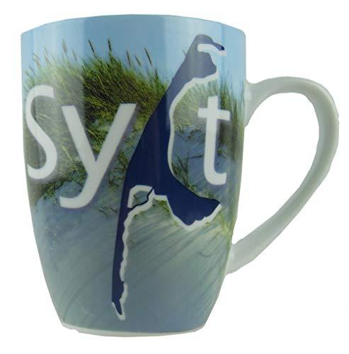 osters muschel-sammler-shop Kaffee-Becher- KRUG Sylt- Sylter Becher 300ml / blau-Weiss/Syltmotiv/Motiv Sylt/Sylter Becher/Strandtasse-Becher