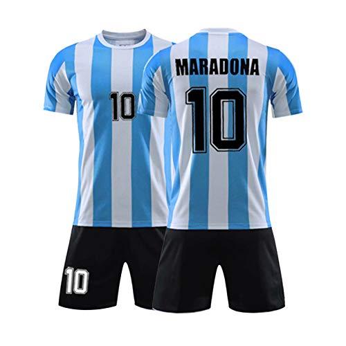 Herren-Fußballtrikot # 10 Dǐěgǒ Ǎrmǎndǒ Mǎrǎdǒnǎ / 1986 Argentina World Cup Legend Trikot, Fußballuniform Für Erwachsene Und Kinder, Sommer-Retro-Kurzarmhemd + Short L