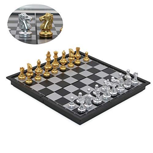 T Tocas Viajar ajedrez magnético Set con Tablero Plegable, Ligero, 25cm x 25cm x 2cm