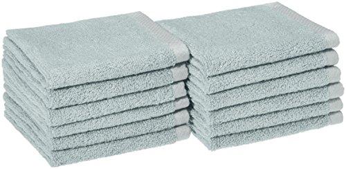 AmazonBasics Handtuch-Set, schnelltrocknend, 3-teilig Waschlappen Washcloth eisblau