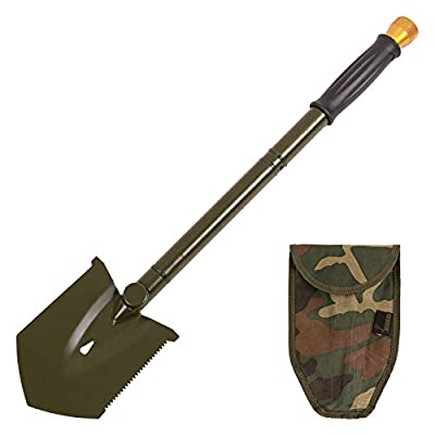 REDCAMP Military Folding Camping Shovel?High Carbon Steel Entrenching Tool Tri-fold Handle Shovel with Cover