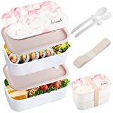 IAXSEE Bento Box Adult Lunch Box Pink 40 Oz Large Japanese Bento Box for kids 100% Leak-Proof, Reusable Sectioned Lunch Containers Includes 2 Stackable Containers, Dividers, Cutlery and Sealing Strap