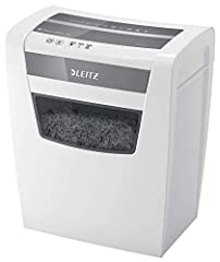Leitz 80090000 IQ Home Office Destructeur de dossiers (coupe de particules, niveau de sécurité P4, capacité de 10 feuilles, 23L poubelle, broyeur) blanc