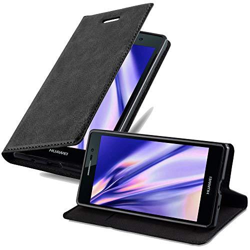 Cadorabo Hülle für Huawei P7 - Hülle in Nacht SCHWARZ – Handyhülle mit Magnetverschluss, Standfunktion & Kartenfach - Case Cover Schutzhülle Etui Tasche Book Klapp Style