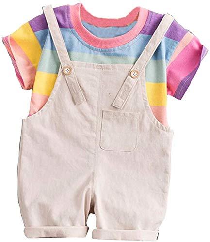 Baby Boy Girl Matching Outfits Short Sleeve T-Shirt Tops + Shorts Toddler Kids Rainbow Stripe Straps Pants Set,Khaki,6-12 Months