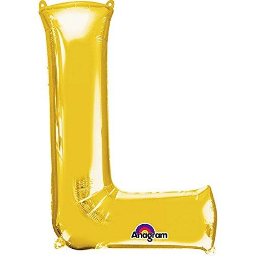Anagram - Globo pequeño con Forma de Letra en Dorado (L/Oro)