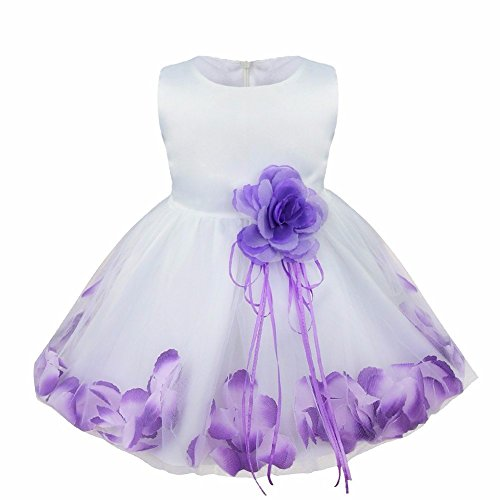 iEFiEL Girls Kids Wedding Party Darling Petals Bowknot Flower Dress Violet 18-24 Months