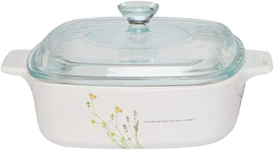 Corningware A-1-EH Stovetop European Herbs Covered Casserole Dish, Pyroceram, 1L, White With European Herb Pattern