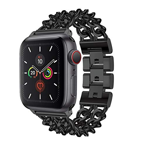 Compatible for Apple Watch 38mm 40mm 42mm 44mm, Stainless Steel Metal Wristband Women Men for iWatch SE Series 6/5/4/3/2/1 (Black, 42mm/44mm)
