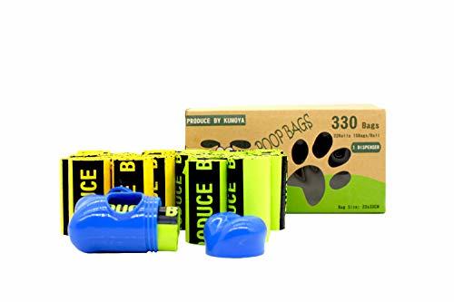 Sacchetti igienici per cani con dispenser 23 x 33 cm 330 unità, Extra Spesso a Prova di perdite Dog Poo Bags Inodore e insapore Biodegradable Sacchetti per bisogni escrementi del cane(M)
