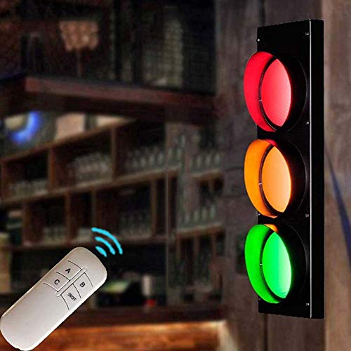 SJNSJN Wandleuchte LED Retro Wohnzimmer Einstellbar Lampenschirm Deko 3-Flammig Ampel Hue Wandlampe 5W Rot/Grün/Gelb Industrie Fernbedienung Dekoidee Beleuchtung Vorrichtungen