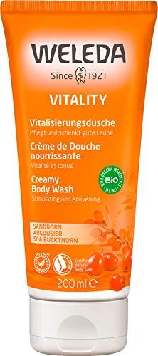 WELEDA Vitality Vitalisierungsdusche Sanddorn - pflegendes Naturkosmetik Bio Duschgel mit fruchtigem Duft nach Mandarine, Grapefruit & Sandelholz zur Reinigung von Körper, Gesicht & Haut (1 x 200 ml)