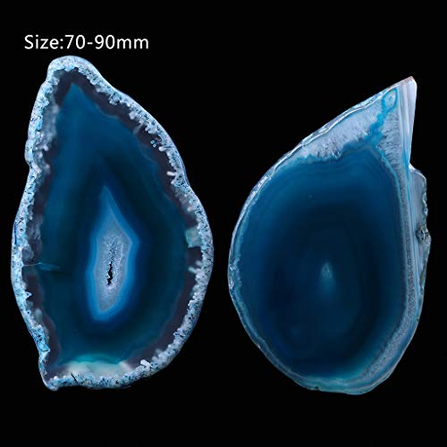 Driidudur - Cortador de ágata, piedra de cristal irregular pulida de ágata natural para decoración del hogar, azul, 3