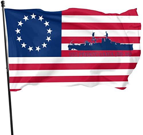 anemone store Amerikanische Fuß-Flagge der Fliegen-Brisen-3x5 - USS Pennsylvania