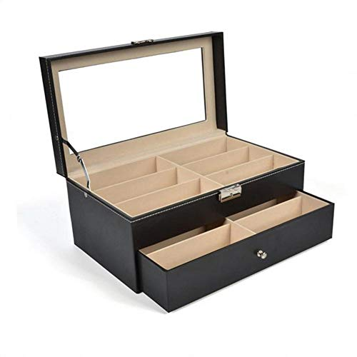QWSNED Caja de almacenamiento de gafas,Organizador de gafas de sol negro de 12 cuadrículas,Caja de almacenamiento de lentes de cuero transparente,Pantalla de gafas de doble capa transparente