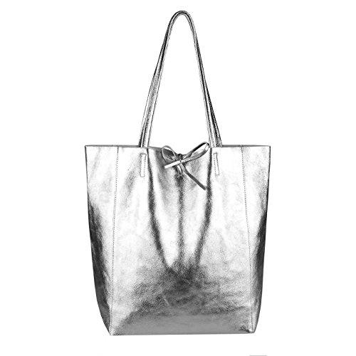 OBC Made in Italy Damen Leder Tasche Din-A4 Shopper Schultertasche Henkeltasche Tote Bag Metallic Handtasche Umhängetasche Beuteltasche (Silber 36x40x12 cm)