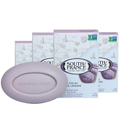 Lavender Fields Natural Bar Soap by South of France Natural Body Care | Triple-Milled French Soap with Organic Shea Butter + Essential Oils | Vegan, Non-GMO Body Soap | 6 oz Bar – 4 Pack