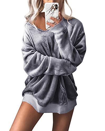 Minetom Kapuzenpullover Langarm Damen Hoodie Sweatshirt Mode Samt Casual Pullover Tops Herbst Winter Sweatjacke Grau DE 40