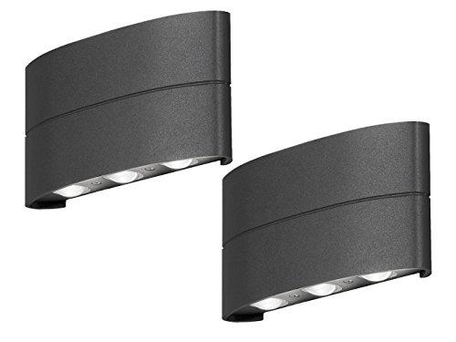 2er Set - Flache LED Außenwandleuchten Up and Down Aluminium anthrazit, IP54, 18,5cm breit, 9cm hoch - Hausbeleuchtung Außen