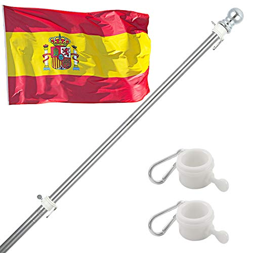 HORSE SECRET 150cm Kit de Asta de Bandera de Aluminio, Kit de Barra de Bandera de Montaje en Pared Exterior con Anillos Giratorios, Incluye Bandera Española