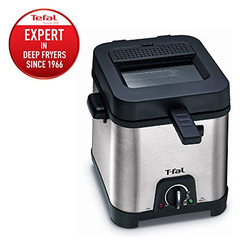 T-fal FF492D Stainless Steel 1.2-Liter Oil Capacity Adjustable Temperature Mini Deep Fryer with Removable Lid, 0.66-Pound, Silver - 8000035819