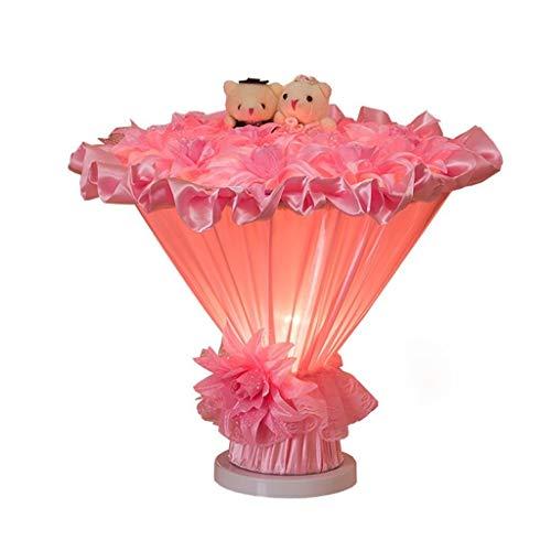 L-WSWS skrivbordslampa Bordslampor, Personality Simple Continental säng lampor Creative Wedding äktenskap Ornament Pink Mode Lampa, S Läsa Night Light, rosa (Color : Pink)