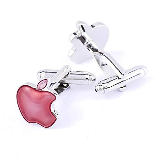 HPOZA Rotes Hemd-Manschettenknopf-Geschäfts-Hochzeits-Geschenk Der Apple-Manschettenknopf-Männer