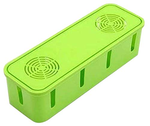 Plus Nao(プラスナオ) ケーブルボックス タップボックス ケーブル 収納 卓上 電源タップ ケース コンセント 冷却穴付き 単色 シンプル - グリーン