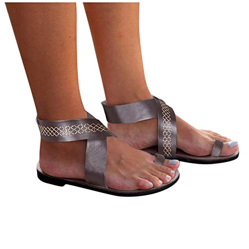 Dasongff Damen Gladiator Sandalen Cross Strap Buckle Römersandalen Knöchelriemen Strandsandalen Sommer Flache Clip Toe Pantoletten Zehentrenner