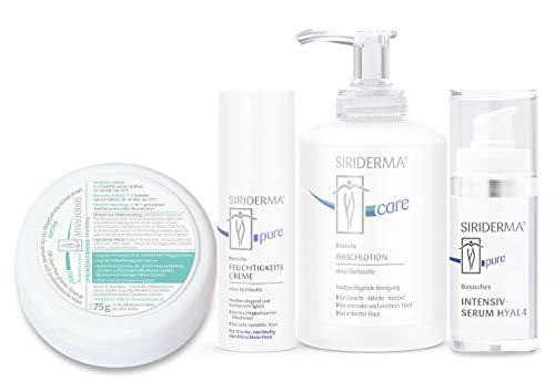 SIRIDERMA® Pflege-Set für feuchtigkeitsarme Mischhaut | Waschlotion, Feuchtigkeitscreme, Intensiv-Serum | Gratis Badekonzentrat 75g (ohne Duft)